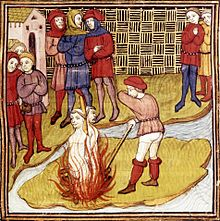 Jacques de Molay sentenced to the stake in 1314, from the Chronicle of France or of St Denis. Note the shape of the island, representing the Île de la Cité in the Seine where the executions took place. (courtesy of Wikipedia)